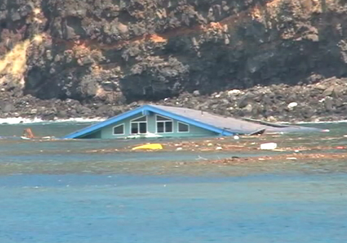RAW VIDEO: Kona tsunami – House washes away, floats in bay