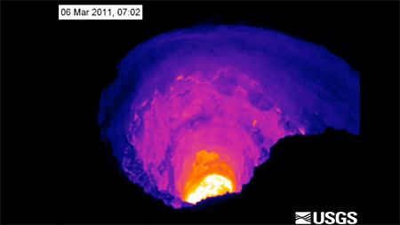 VIDEO: Volcano summit vent drains away from view