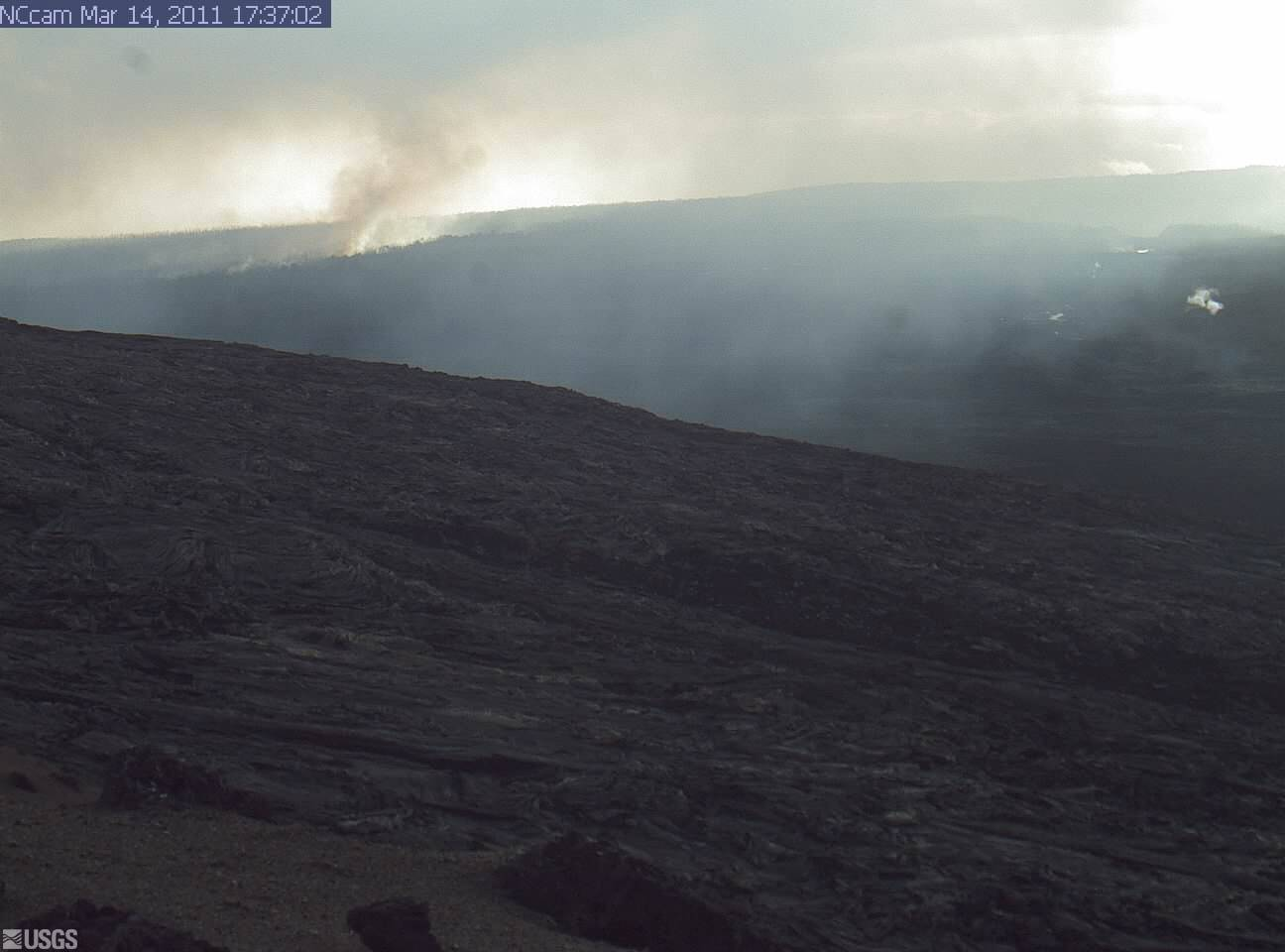 Fire creeping in Hawaii Volcanoes National Park