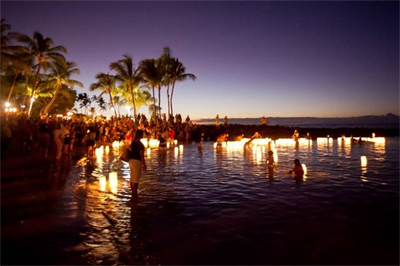 North Hawaii Hospice lantern floating at Fairmont Orchid, Aug. 26