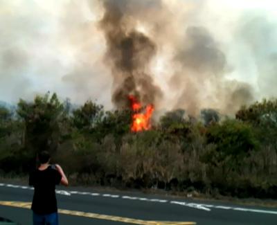 Brush fire in Kona