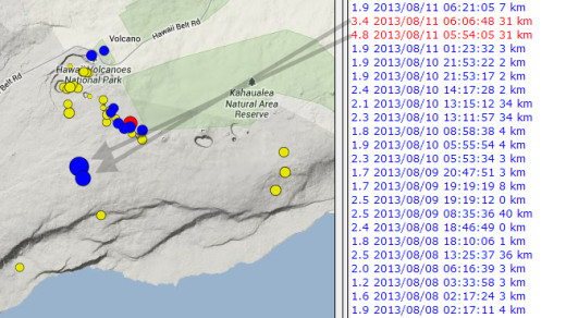 Isolated close-up of the USGS HVO map showing the location of Sunday's quakes. The arrows were added by Big Island Video News.