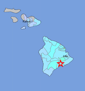 """From the USGS """"Did You Feel It?"""" map, showing """"light"""" shaking in blue - associated with no damage - registered around Hawaii Island and Maui, as well."""