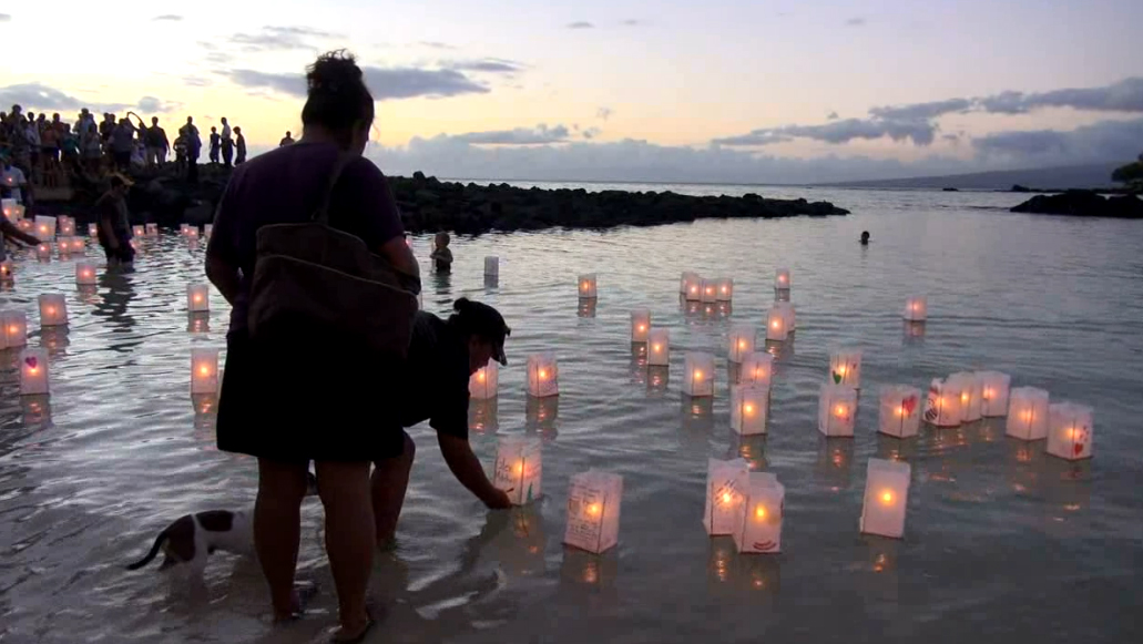 VIDEO: Lantern Floating Ceremony at Pauoa Bay
