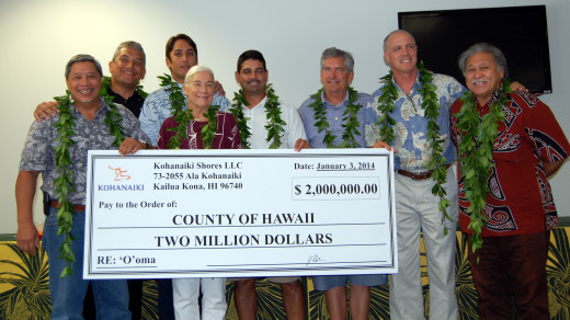 The $2 million check donated by Kohanaiki Shores. Photo courtesy Hawaii County.