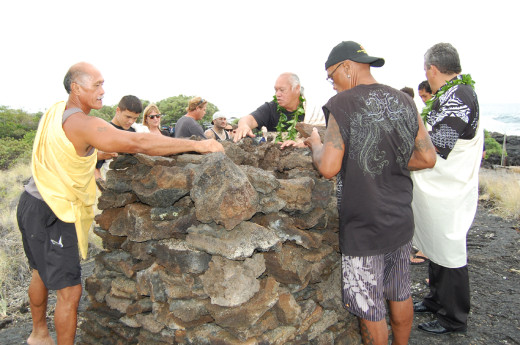 Ahu building at O'oma, courtesy Hawaii County