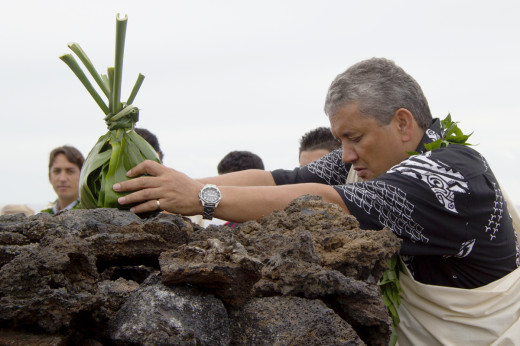 Mayor Billy Kenoi presents a hookupu at the ahu built by those involved in Friday's ceremony at O'oma. Photo courtesy Hawaii County.