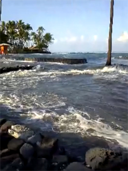 Damaging waves at Kahaluu were captured on video and posted to Facebook
