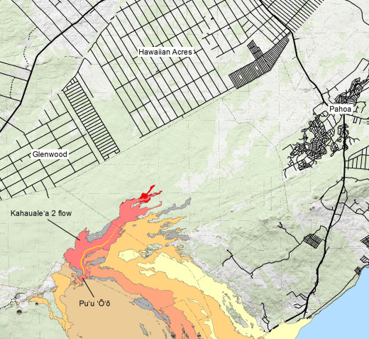 USGS HVO map: Map showing the Kahaualeʻa 2 flow in relation to the eastern part of the Big Island as of January 24, 2014. The front of the Kahaualeʻa 2 flow was 7.8 km (4.8 miles) northeast of Puʻu ʻŌʻō last week. These fingers stalled during a prolonged deflation–inflation cycle (DI event) at Kīlauea's summit which started on January 17 and appears to be just finishing today (January 24). Lava flows have since resumed but are active closer to Puʻu ʻŌʻō, with the focus of activity about 5.6 km (3.5 miles) from the vent. The area of the Kahaualeʻa 2 flow as of January 10 is shown in pink, while widening of the flow as of January 24 is shown in red. Older lava flows are distinguished by color: episodes 1–48b flows (1983–1986) are shown in gray; episodes 48c–49 flows (1986–1992) are pale yellow; episodes 50–55 flows (1992–2007) are tan; episodes 58–60 flows (2007–2011) are pale orange, and episode 61 flows (2011–2013) are reddish orange. The active lava tube is shown with a yellow line.