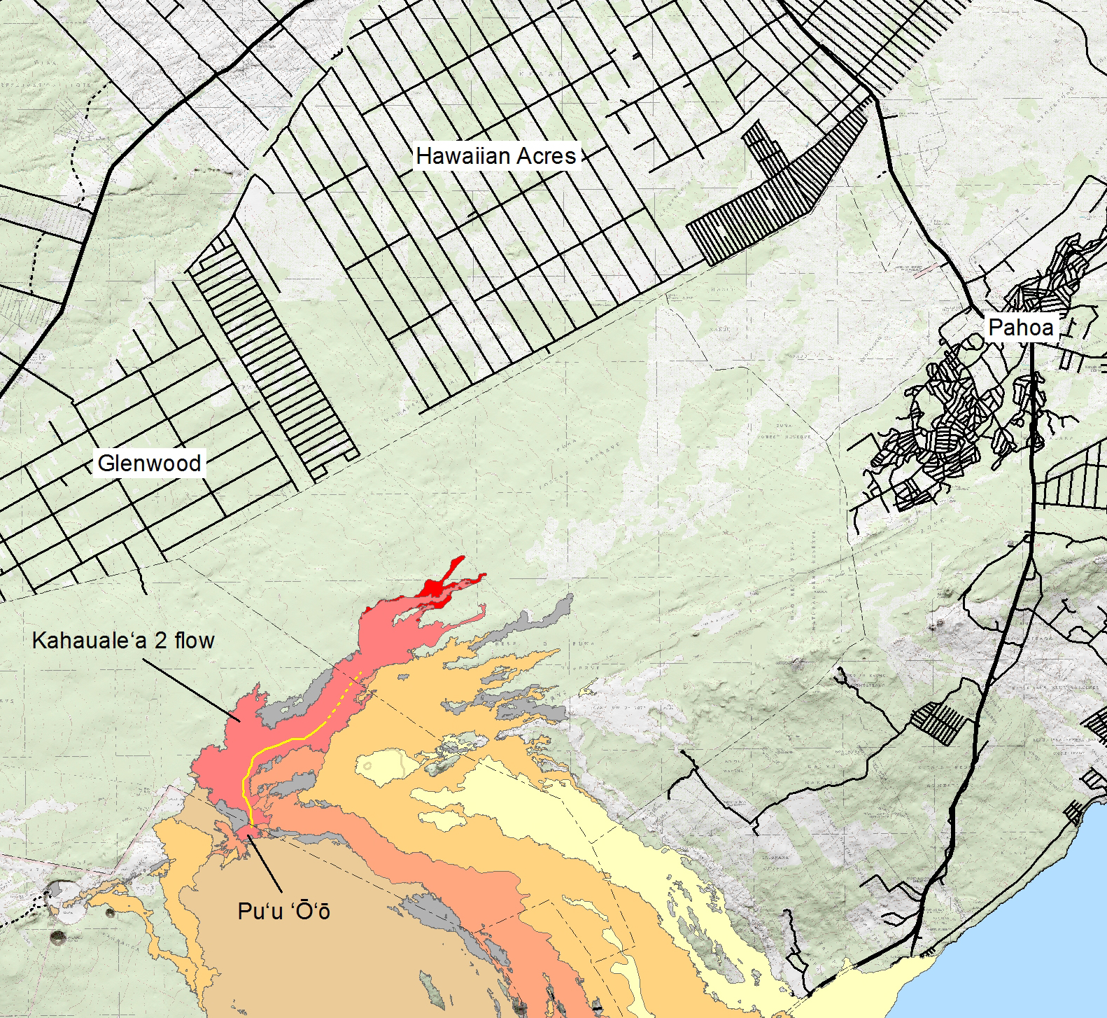 Big Island Lava Flow Map Submited Images