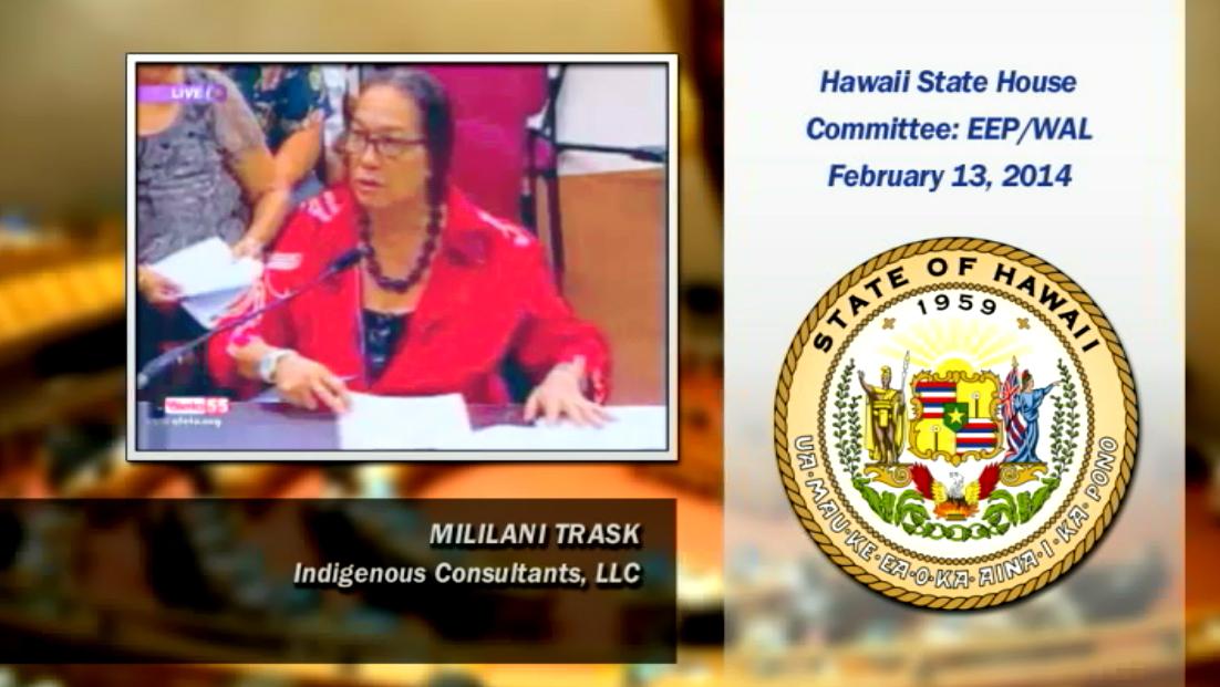 Video still: Mililani Trask testifies against fracking ban