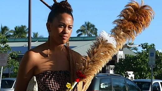 Hāwane Rios stands outside the Hilo's Hale Kaulike courthouse on Thursday morning.