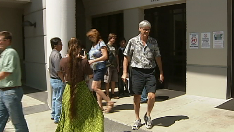 Outside Hilo courthouse after judge grants TRO on GMO registration on the Big Island