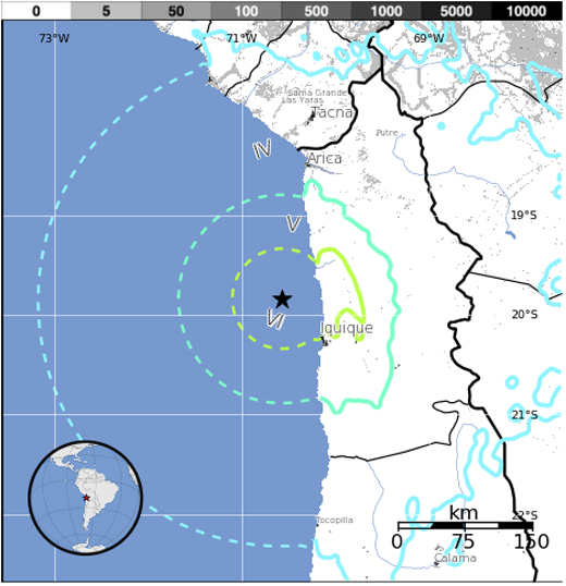 Epicenter of Chile earthquake, courtesy USGS
