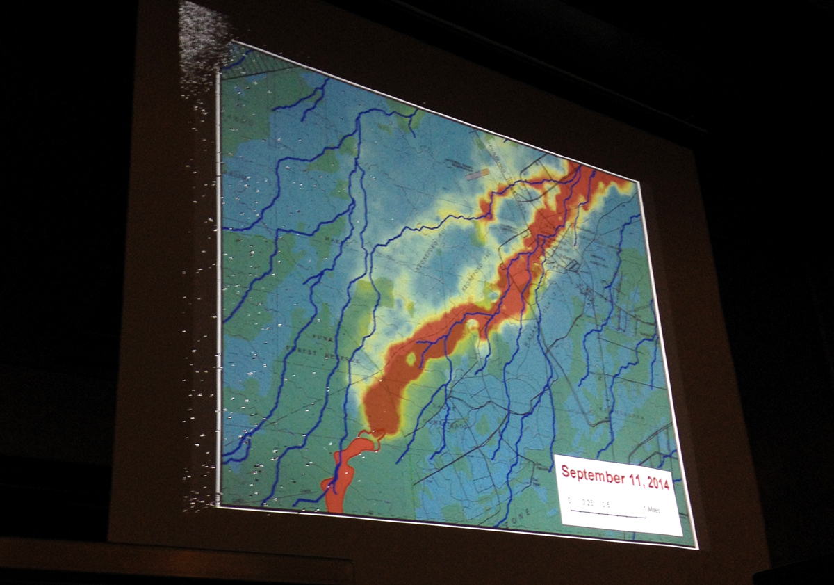 This slide shows the latest lava flow projection, and its a worst-case scenario. It was created by USGS Hawaiian Volcano Observatory on Sept. 11