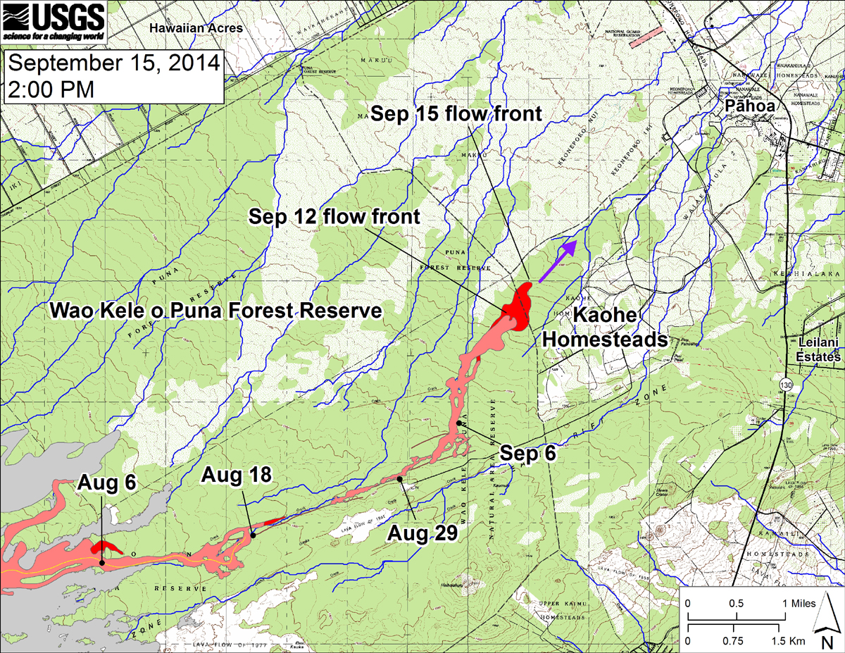 """USGS: """"This large-scale map shows the distal part of the June 27th flow in relation to nearby Puna communities. The black dots mark the flow front on specific dates. The latitude and longitude of the flow front on September 15 was 19.469506 /-154.981172 (Decimal degrees; WGS84). The blue lines show down-slope paths calculated from a 1983 digital elevation model (DEM; for calculation details, see http://pubs.usgs.gov/of/2007/1264/). Down-slope path analysis is based on the assumption that the digital elevation model (DEM) perfectly represents the earth's surface. But, DEMs are not perfect, so the blue lines on this map indicate approximate flow path directions. The purple arrow shows a short term projection of flow direction based on the flow behavior over the past several days and the local topography."""""""