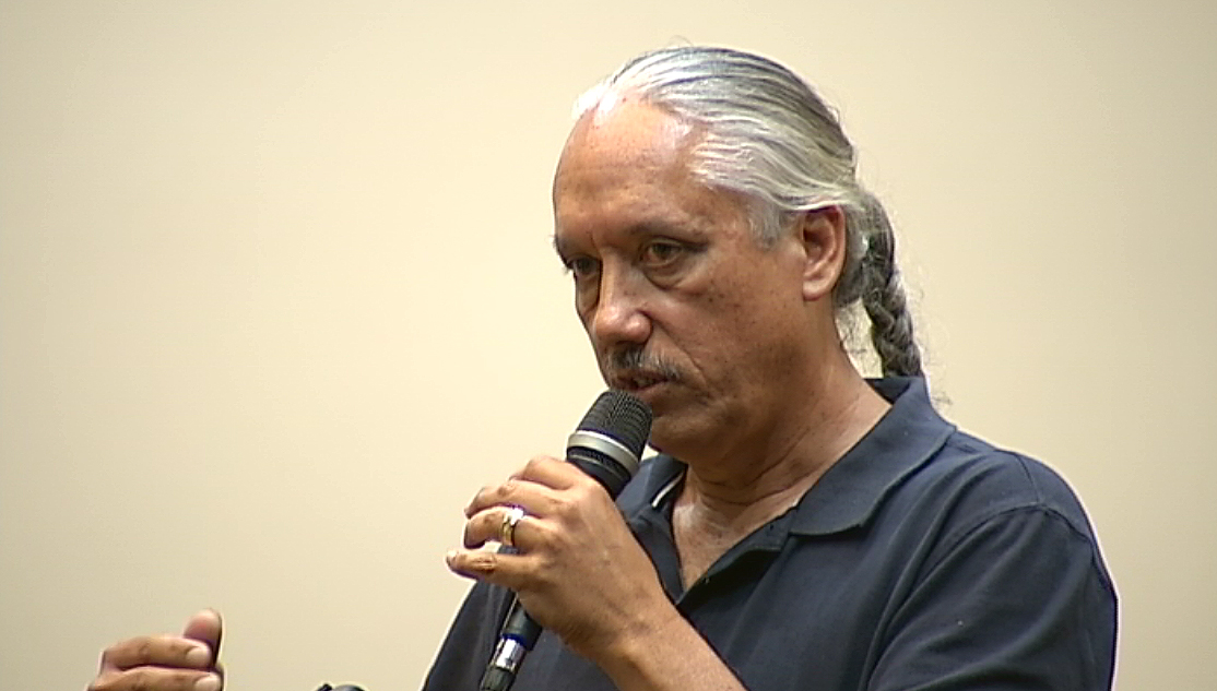 E. Kalani Flores testifies before the OHA Board of Trustees on Pohakuloa.