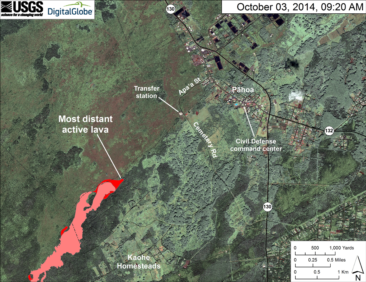 USGS HVO: This map uses a satellite image acquired in March 2014 (provided by Digital Globe) as a base to show the area around the front of the June 27th lava flow. Surface activity comprised of Pāhoehoe toes and lobes were scattered across the leading edge of the flow. Lava continued to advance downslope and extended the front by about 270 m (295 yards) since Wednesday, October 1, 2014.