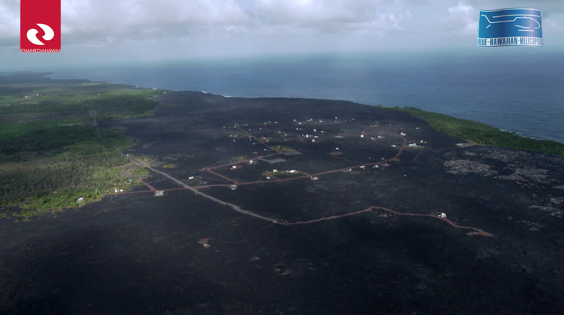 Full frame view of the video showing Kalapana. Image grab from video provided by Ena Media Hawaii, courtesy of Blue Hawaiian Helicopters.