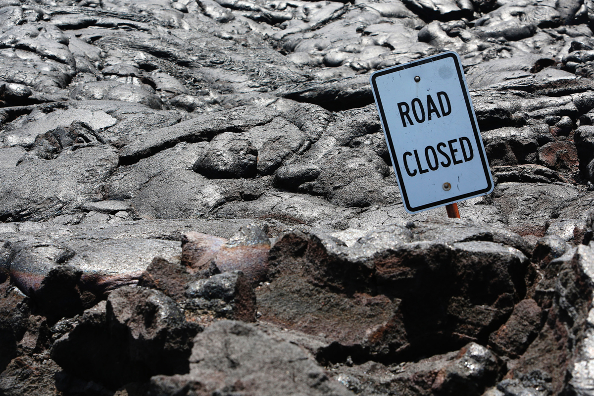 "The iconic ""Road Closed"" sign. NPS Photo/Michael Szoenyi"