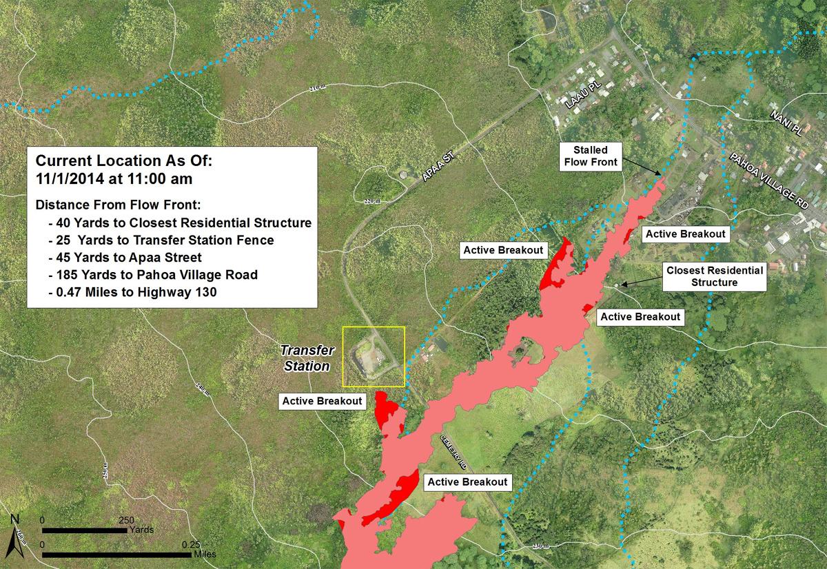 Civil Defense Lava Flow Map - Updated Saturday, 11/1/14 at 11:00 am