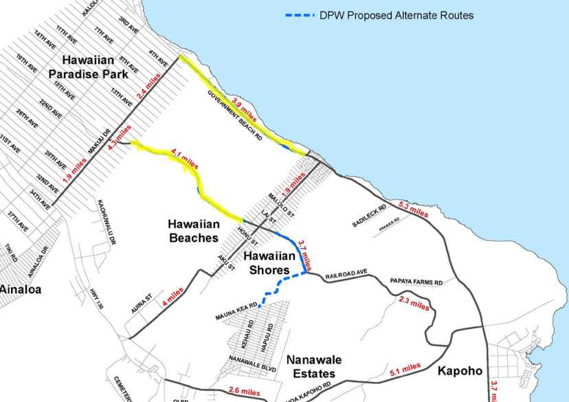 Portion of the Hawaii County map showing alternate access plans for Puna.