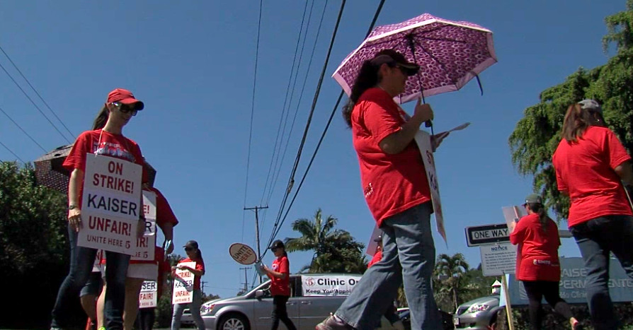 VIDEO: Kaiser Local Five On Strike in Hilo