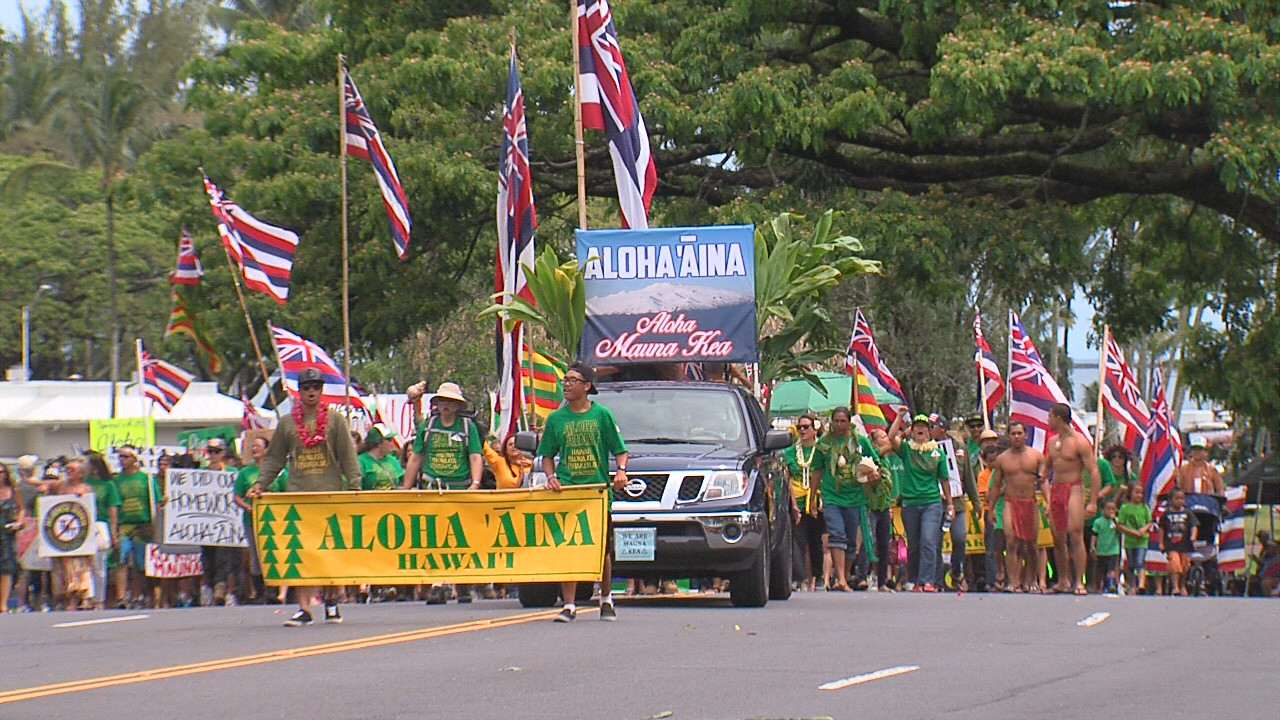 VIDEO: Mauna Kea Protectors Parade At Merrie Monarch