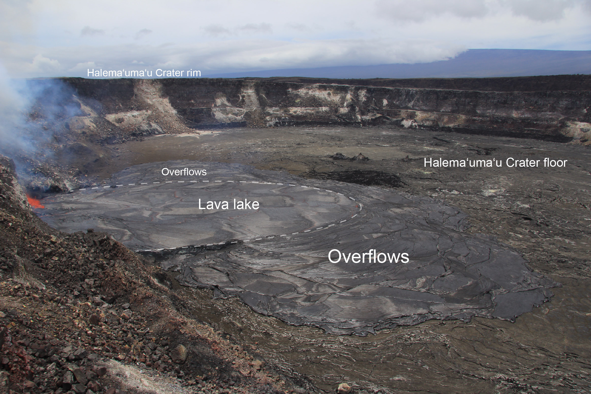 (USGS image) Labeled poto of the overflowing lava lake taken from the rim of Halemaʻumaʻu.