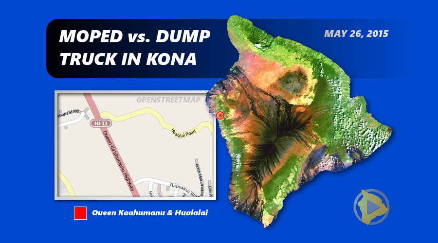 Kona Woman Critical After Moped Crashes With Dump Truck