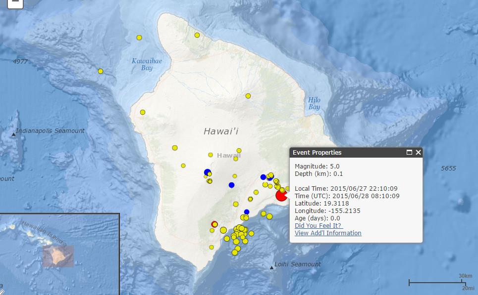 Magnitude 5.0 Earthquake Rocks Hawaii Island
