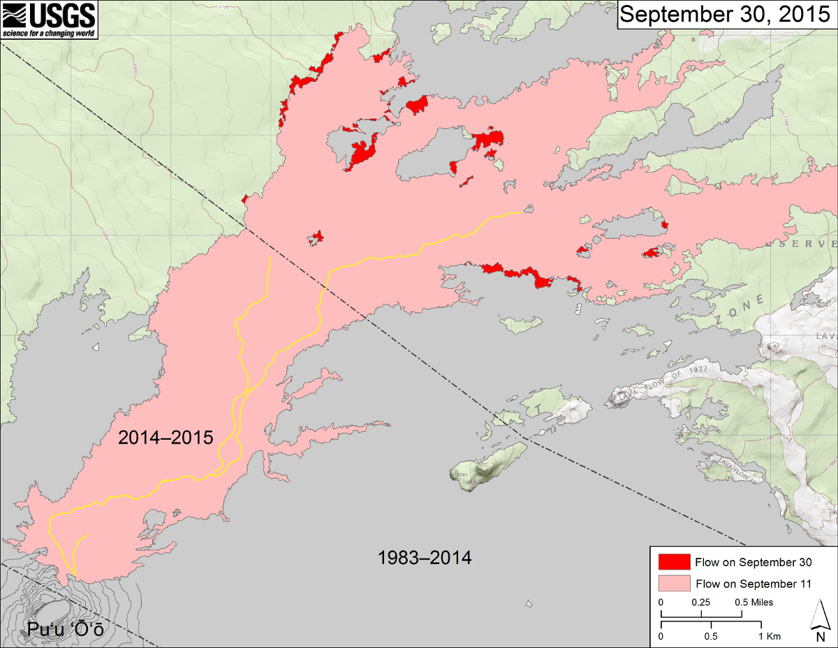 This USGS map shows recent changes to Kīlauea's active East Rift Zone lava flow field. The area of the flow on September 11 is shown in pink, while widening and advancement of the flow as of September 30 (based on satellite imagery) is shown in red. The yellow lines show the active lava tube system. Puʻu ʻŌʻō lava flows erupted prior to June 27, 2014, are shown in gray. This map does not reflect today's activity.