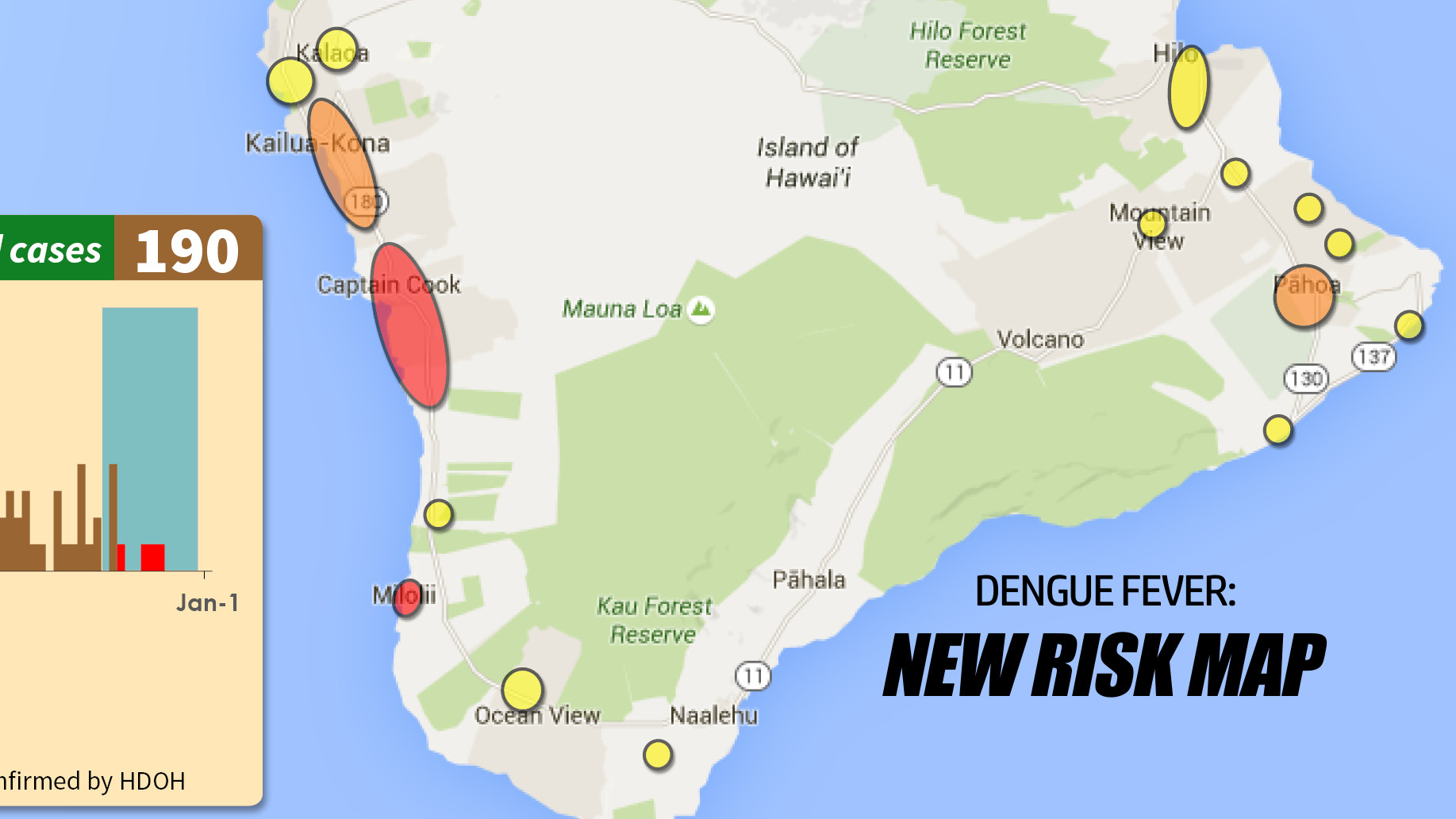 Dengue Fever Cases Jump To 190, New Hawaii Risk Map Released
