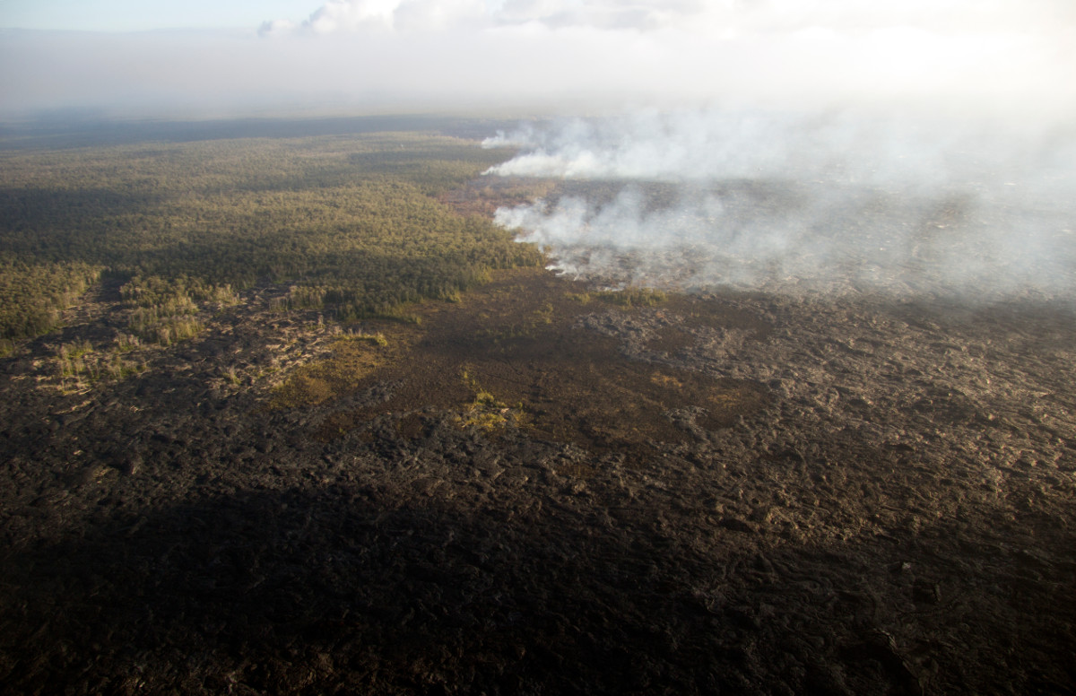 (USGS) Breakouts are active along the northern boundary of the flow field, and are burning several small patches of forest - creating the smoke plumes visible near the center of the photograph