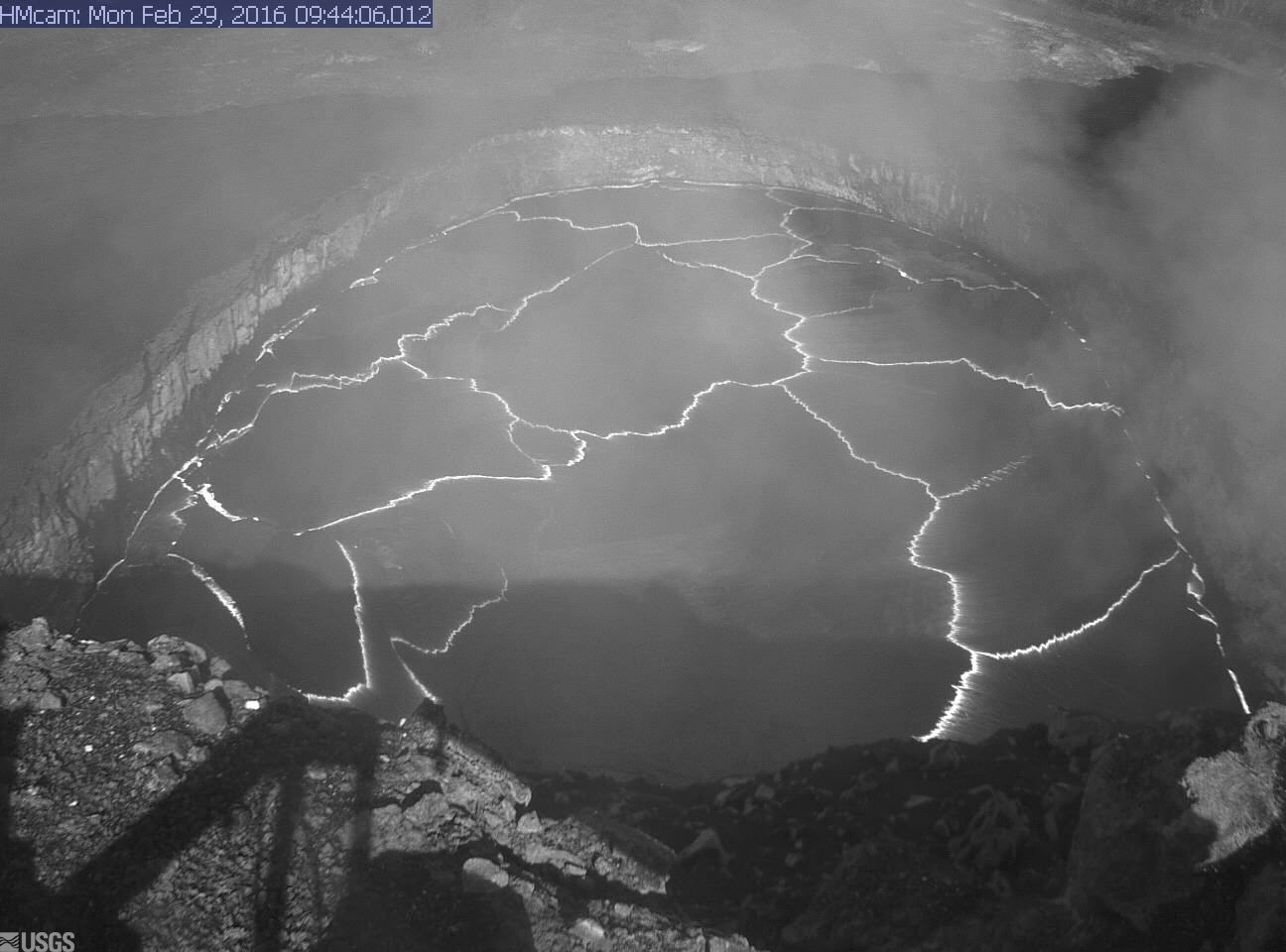 Lava Lake Again Visible From Overlook At Kilauea Volcano