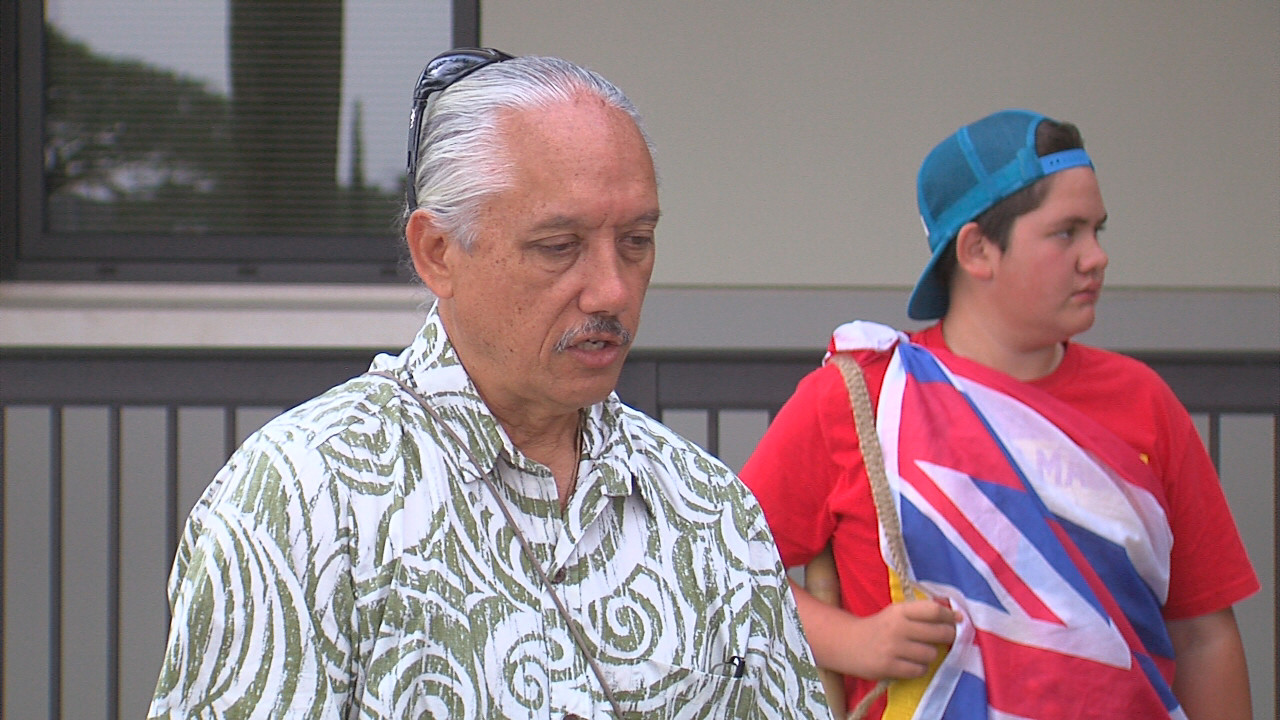 Kalani Flores outside the Hilo court before the hearing on March 11, 2016.