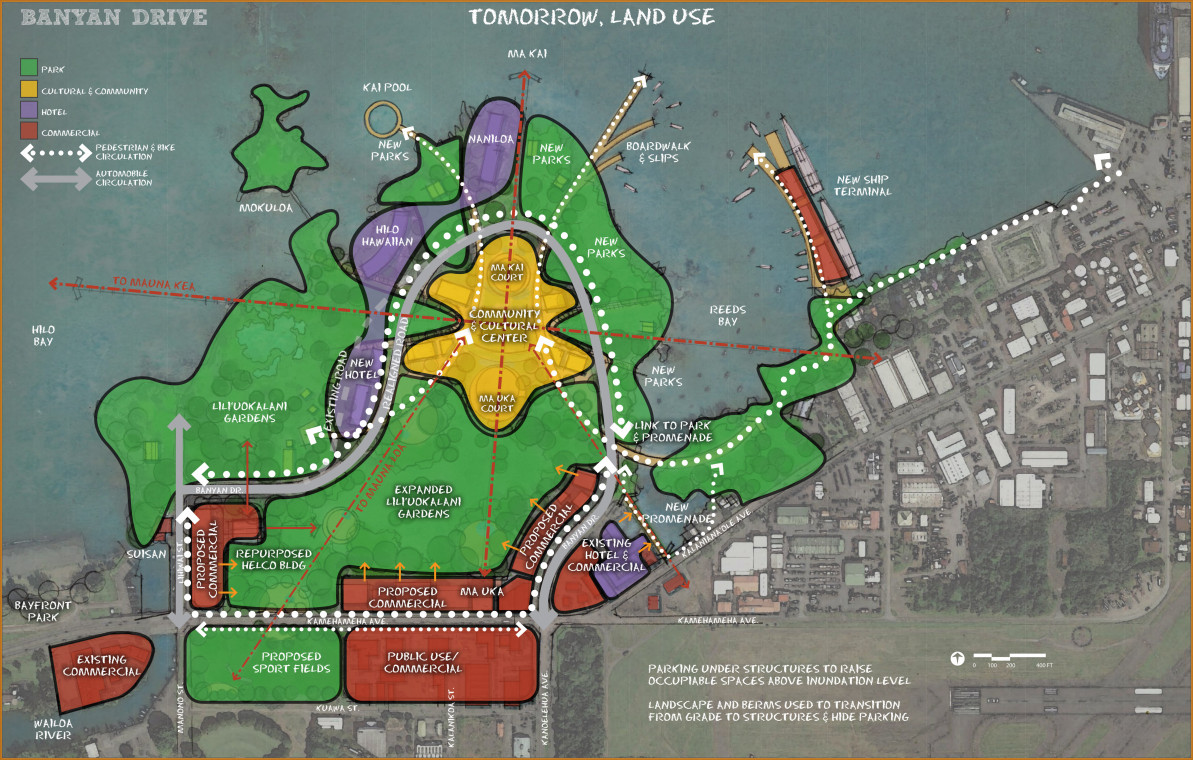 "Conceptual ""Banyan Drive Tomorrow Land Use"" courtesy the Hawaii County Planning Department."