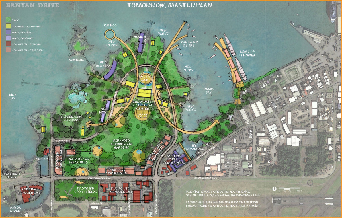 "Conceptual ""Banyan Drive Tomorrow Master Plan"" courtesy the Hawaii County Planning Department."