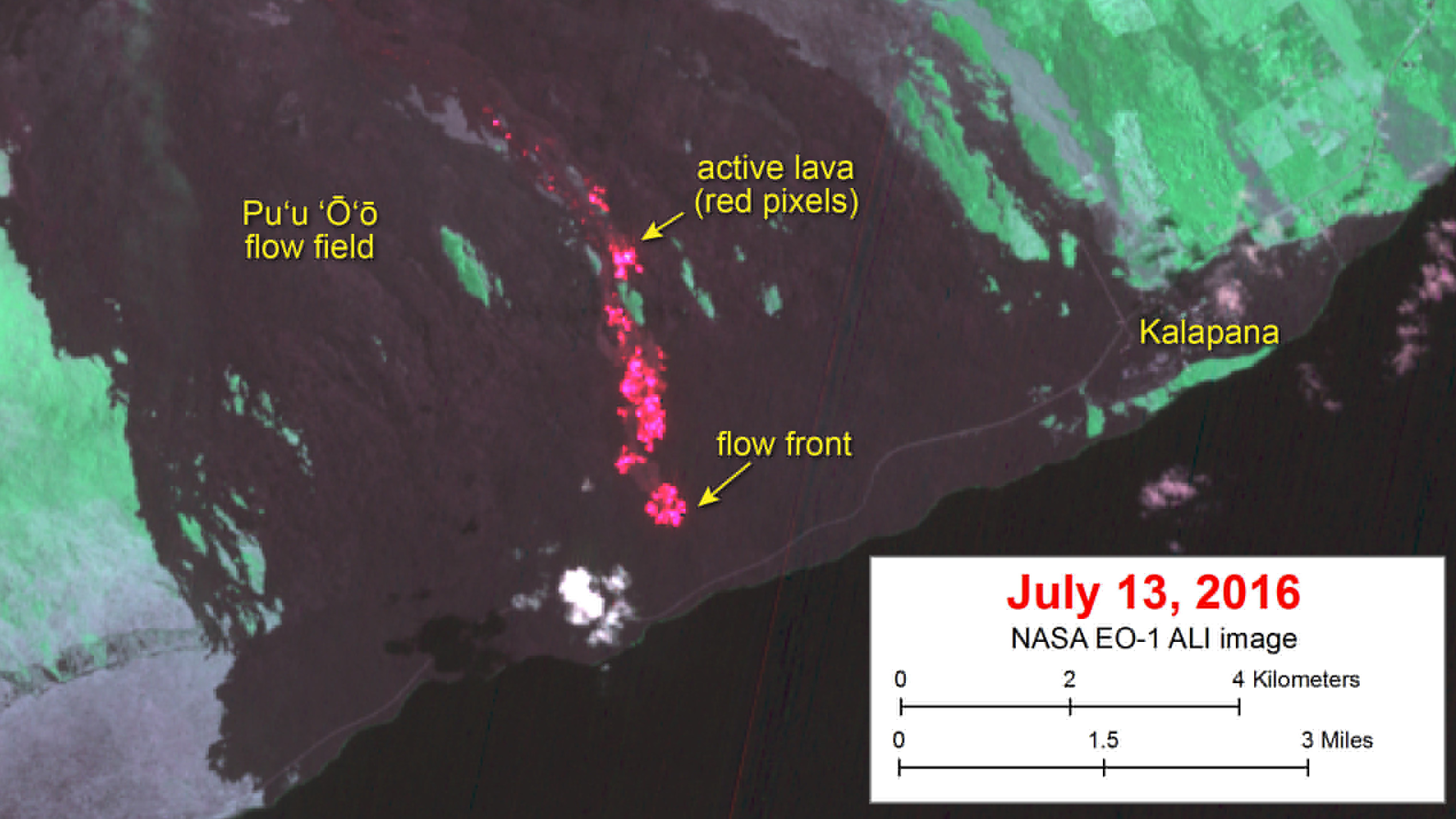 Lava Update – Flow Half Mile From Ocean, Satellite Shows