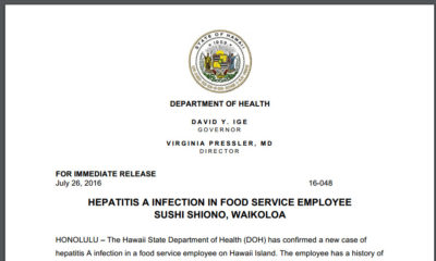 Hawaii Island Hepatitis A Infection Reported