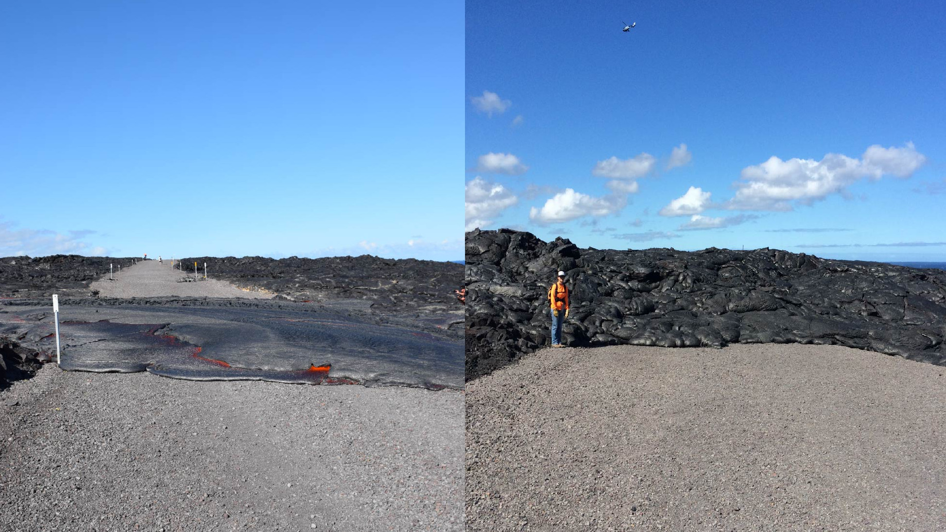 Photo Shows Inflation Of Lava On Emergency Road
