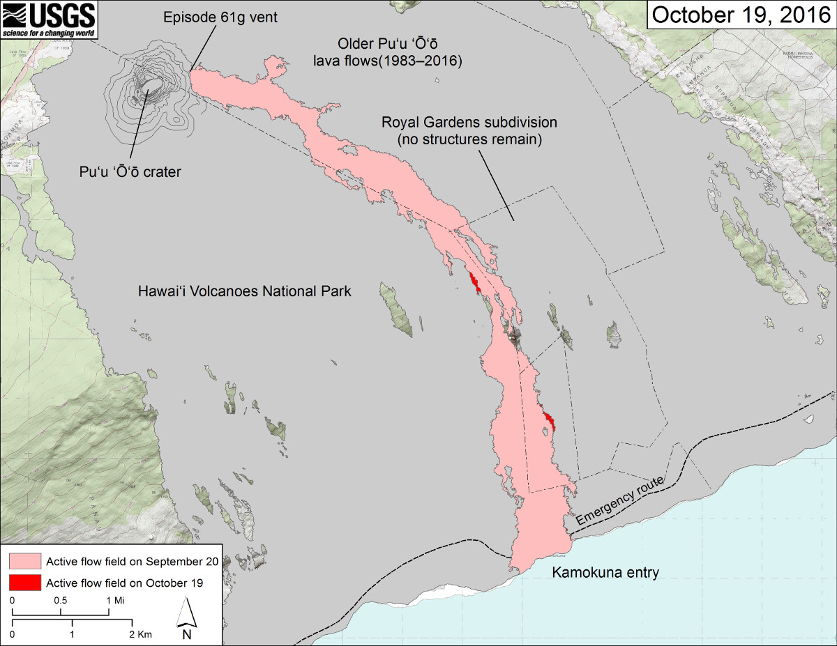 (USGS) This map shows recent changes to Kīlauea's East Rift Zone lava flow field. The area of the active flow field as of September 20 is shown in pink, while widening and advancement of the active flow as mapped on October 19 from satellite imagery is shown in red. Older Puʻu ʻŌʻō lava flows (1983–2016) are shown in gray.