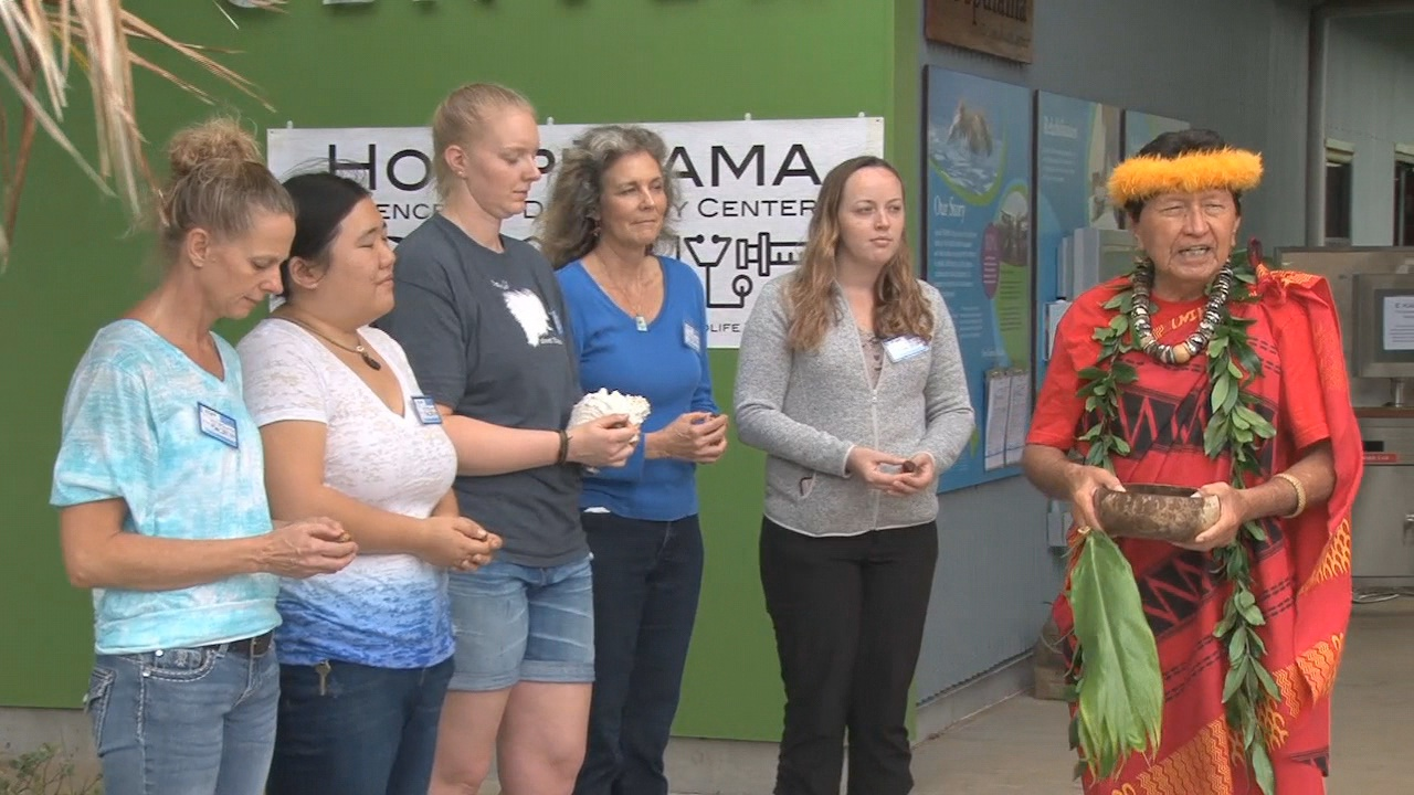Kahu Kealoha Sugiyama blessed the new Ho'opūlama Science and Discovery Center at the Hawai'i Wildlife Center on Saturday.