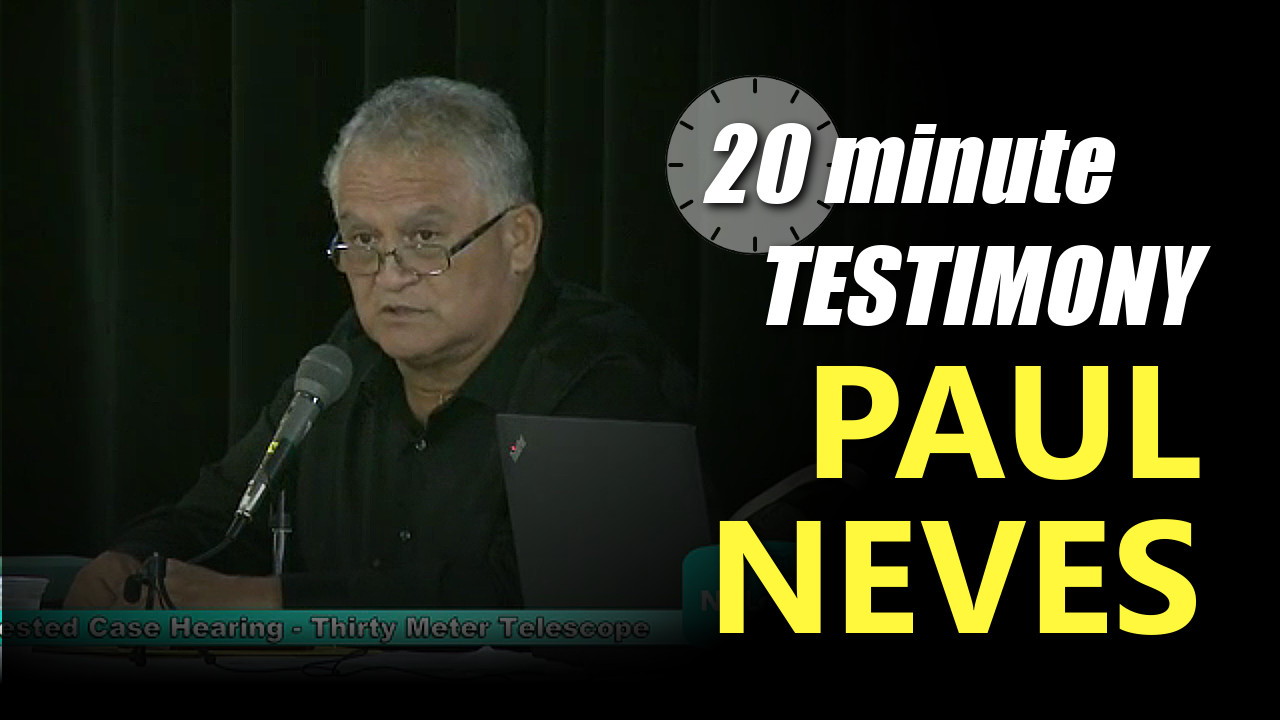 VIDEO: Paul Neves – TMT Contested Case Testimony