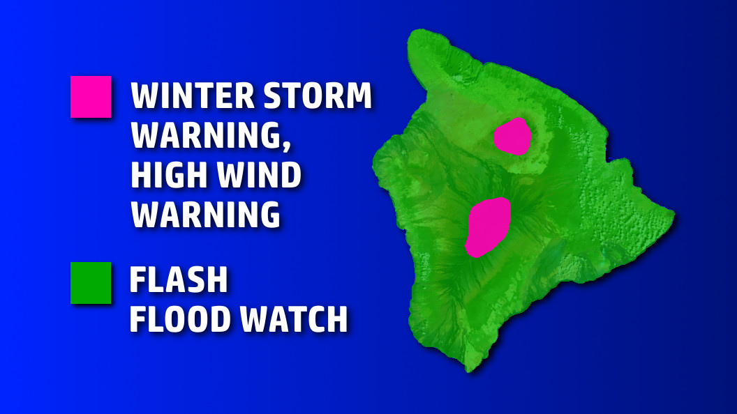Winter Storm Warning For Hawaii Summits, Flood Watch Continues