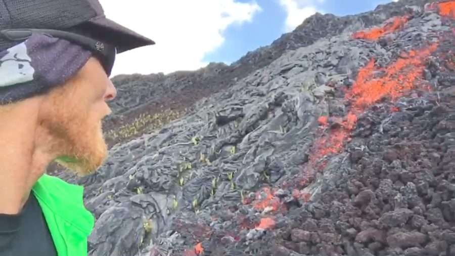 VIDEO: Surface Lava Flow Tumbles Down Pali