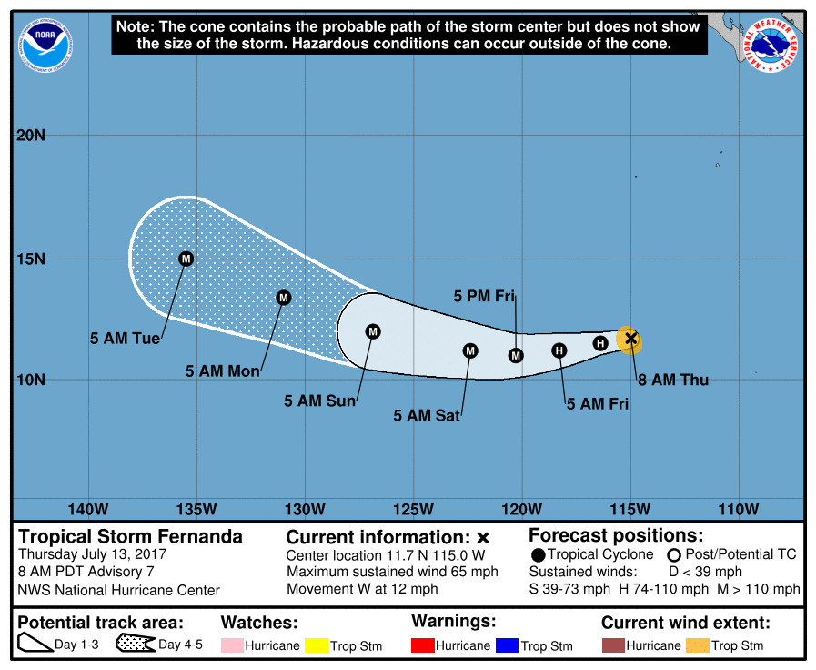 Fernanda becomes a Category 2 hurricane in eastern Pacific