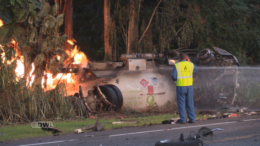 Fiery Aftermath In Fatal Gas Tanker / SUV Crash In Honomu
