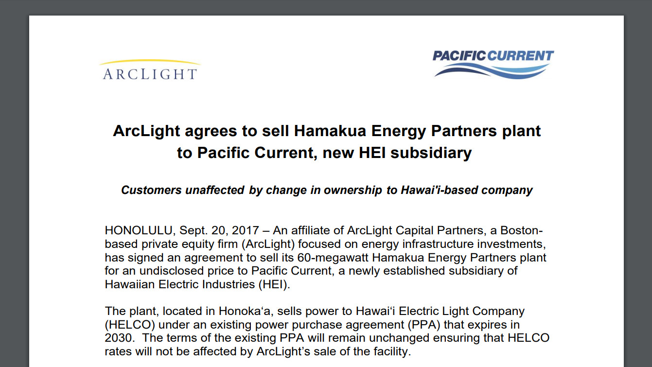 Puc Questions Hei Hamakua Energy Purchase New Subsidiary