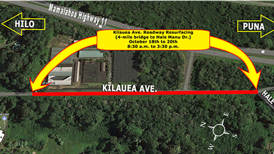 Resurfacing South End Of Kilauea Ave Scheduled This Week